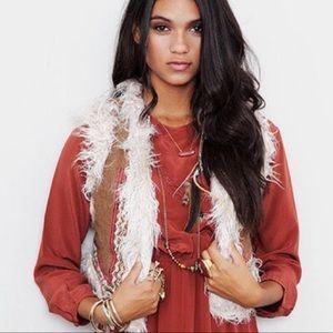 Free People Brown Faux Fur Reversible Vest (M)